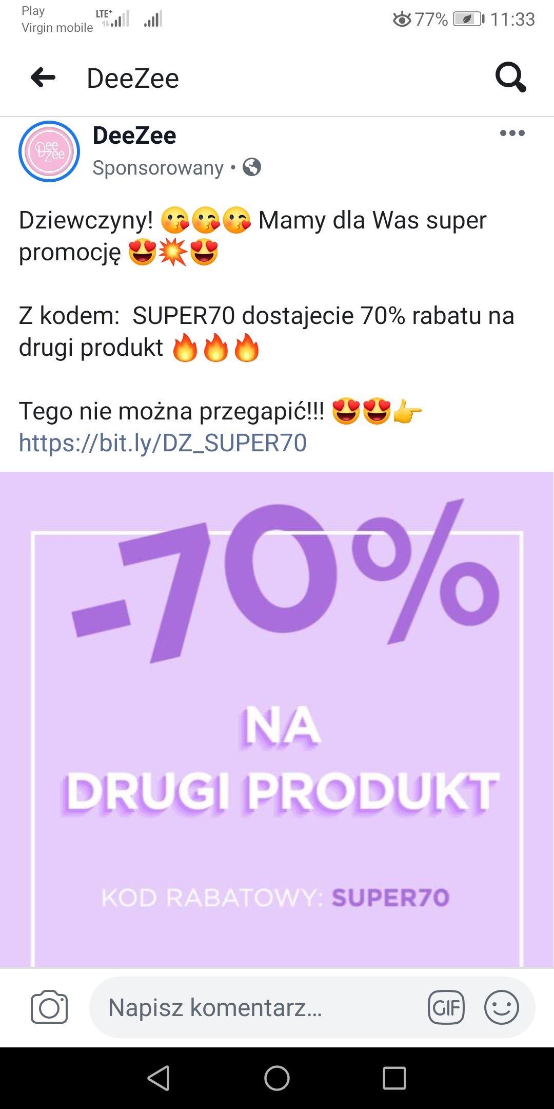 Deezee -70% na drugą sztukę + darmowa dostawa od 79 zł