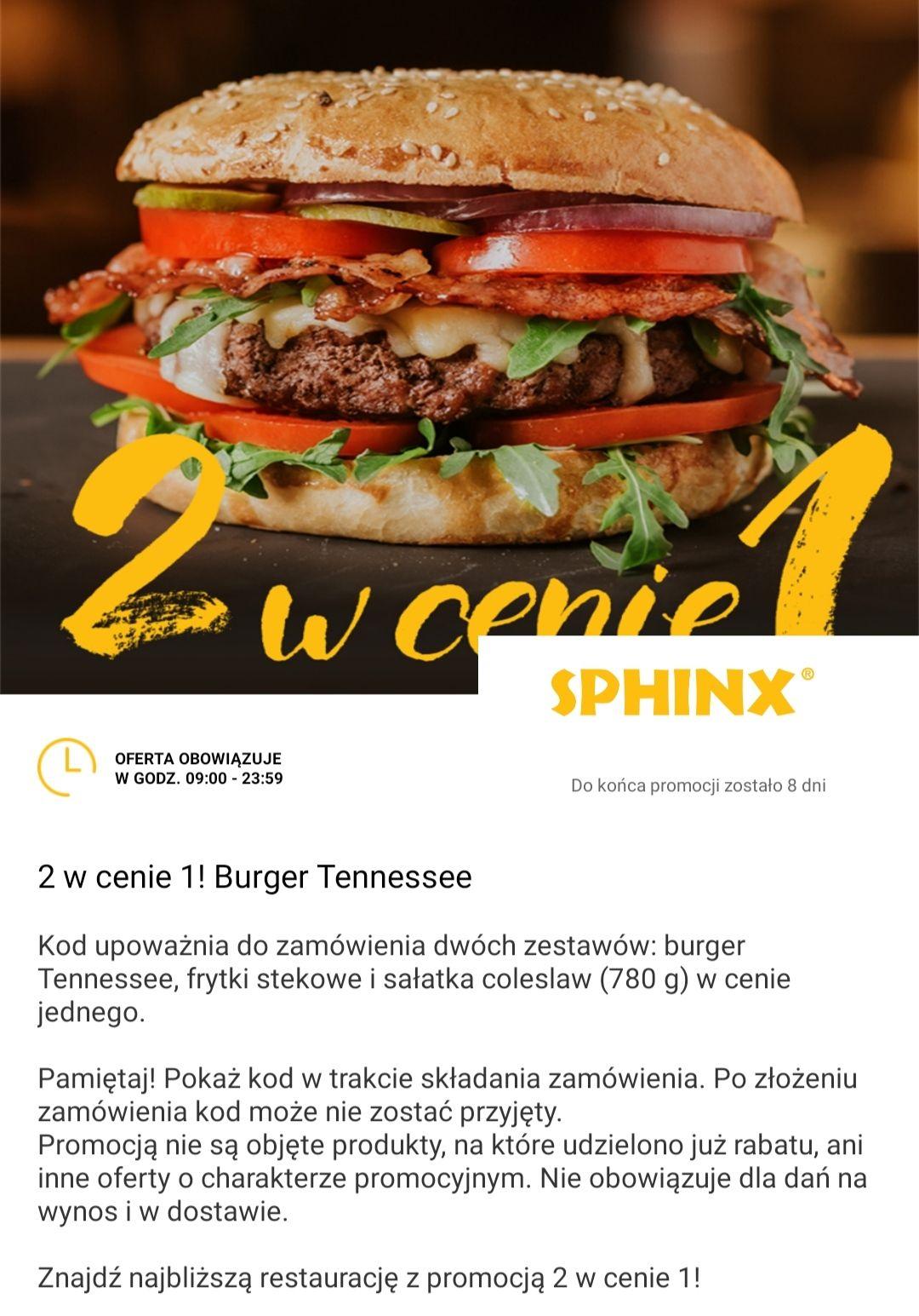 Burger Tennessee w Sphinx 2 w cenie 1