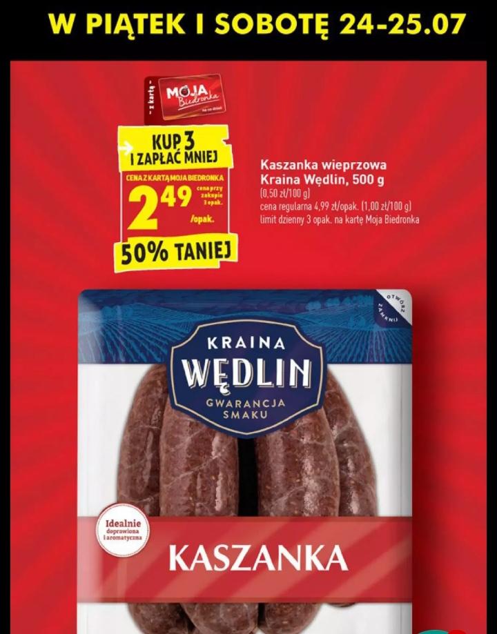 Kaszanka Kraina Wędlin 500g przy zakupie 3opakowań, @Biedronka