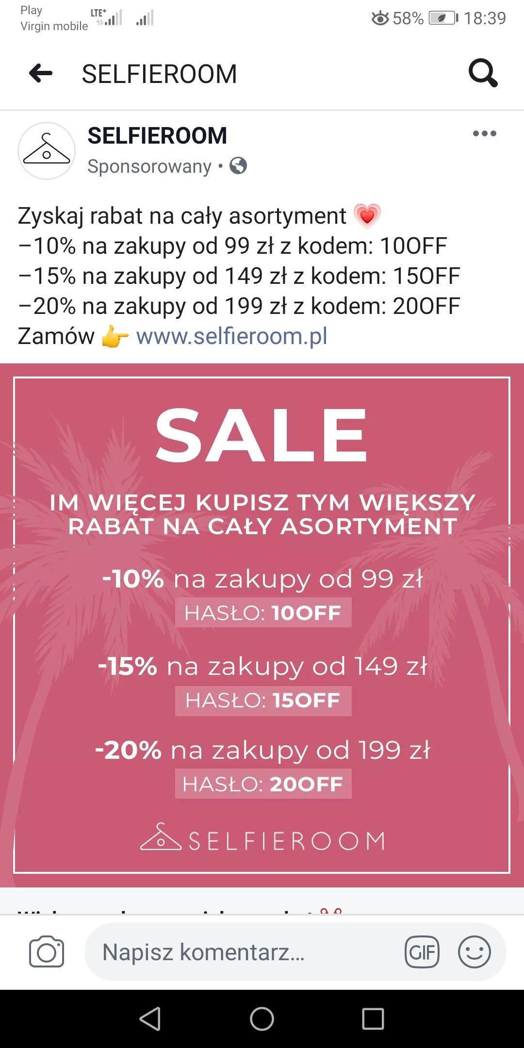 Selfieroom - sklep z damska odzieżą - 10%, - 15%, - 20%