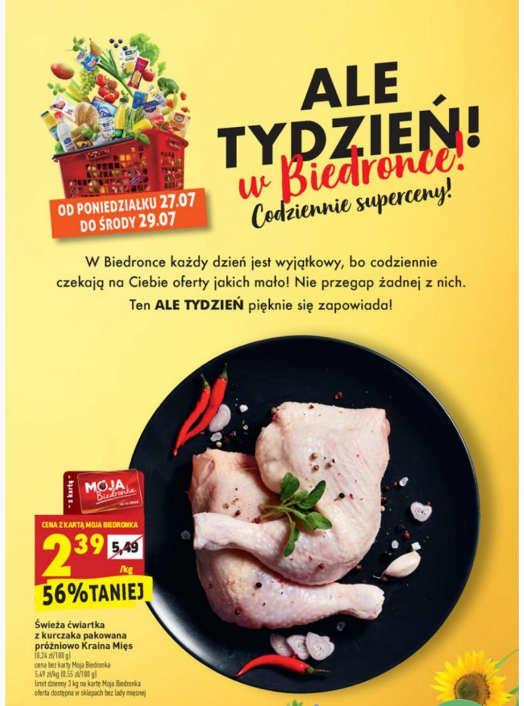 Ćwiartka z kurczaka 2,39 zł/kg @ Biedronka