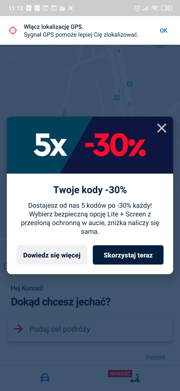 Freenow Rabat 5x30%max 4zl/przejazd