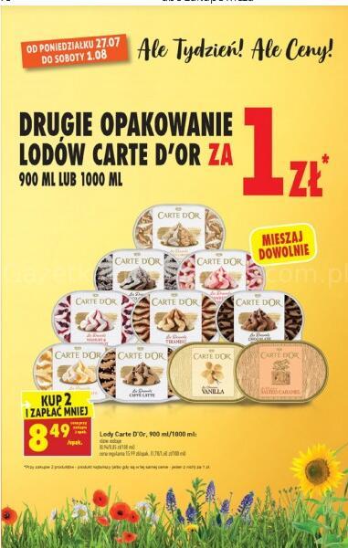 Drugie opakowanie lodów Carte D'or za 1 zł @Biedronka