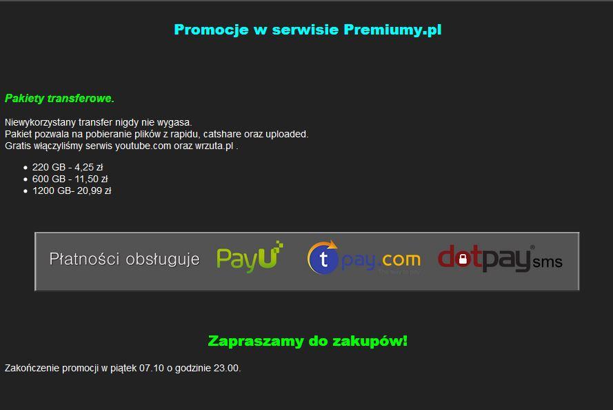 Promocje w serwisie Premiumy.pl