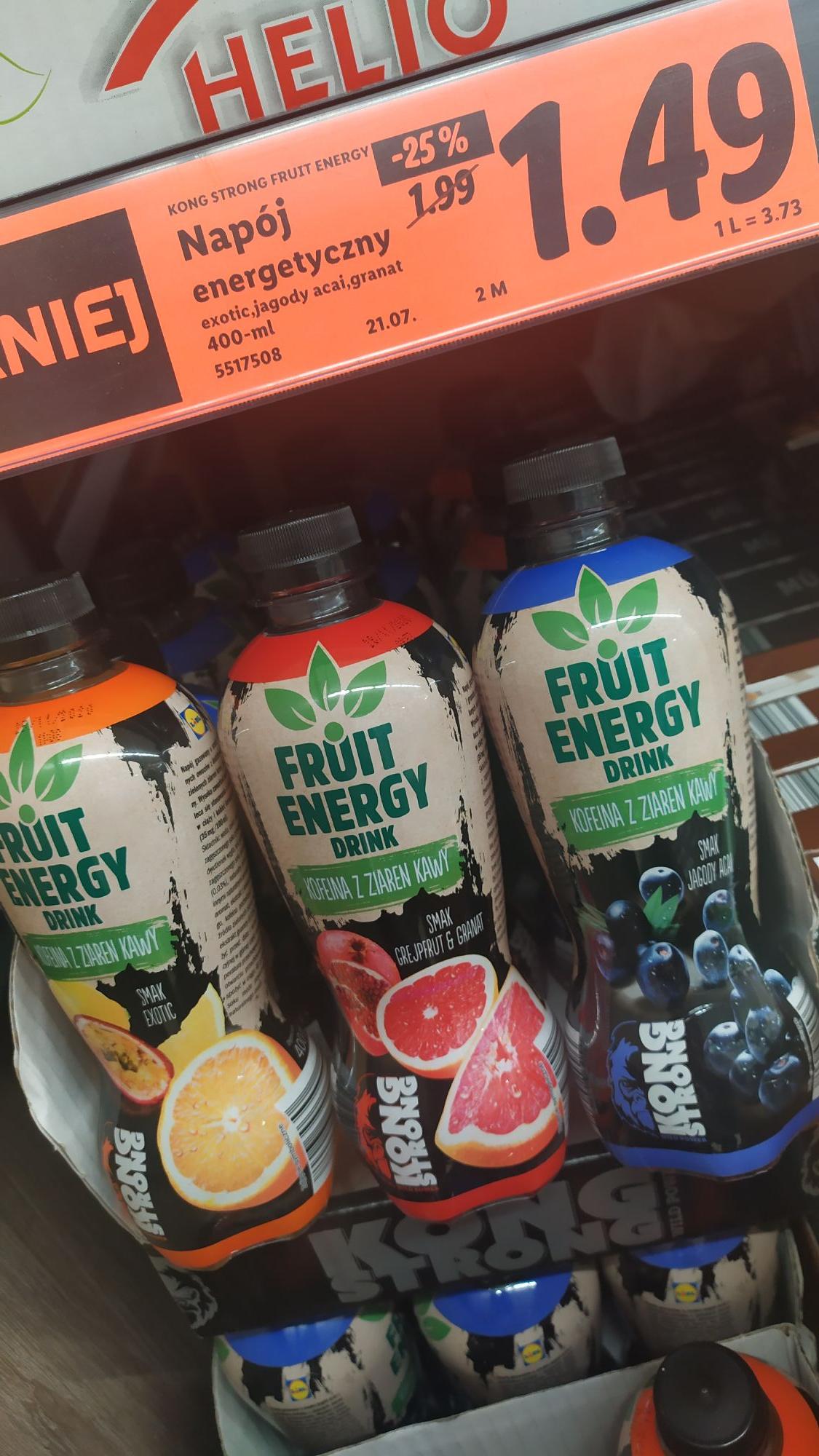 LIDL Naturalny napój pobudzający owocowy na bazie kofeiny.