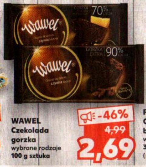 Wawel Czekolada gorzka 90% kakao 100g oraz inne wybrane rodzaje @Kaufland