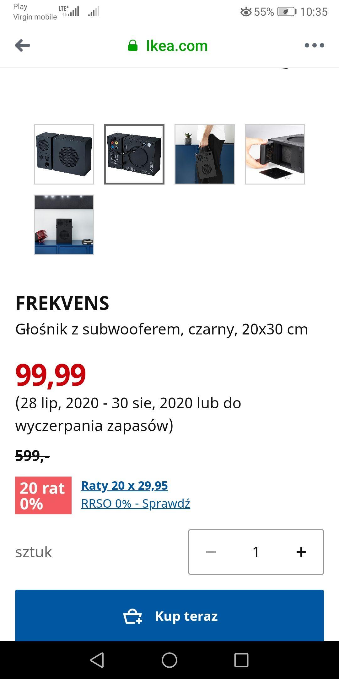 FREKVENS Głośnik z subwooferem, czarny, 20x30 cm