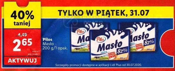 Masło extra 200g Pilos @Lidl (z aplikacją 31.07)