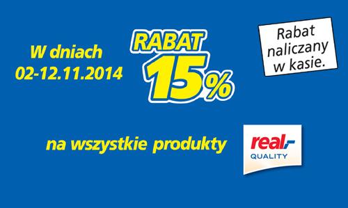 15% rabatu na wszystkie produkty marki Real Quality @ Real