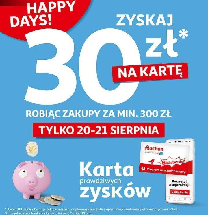 Auchan - zrób zakupy za 300 zł i zyskaj 30 zł na kartę (plus 25 zł w e-bonie) - Auchan