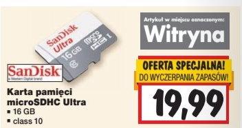 Karta microSDHC Ultra SanDisk 16GB @Kaufland
