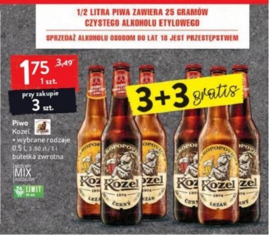 Piwo Kozel 3+3 gratis możliwy mix rodzajów @Intermarche