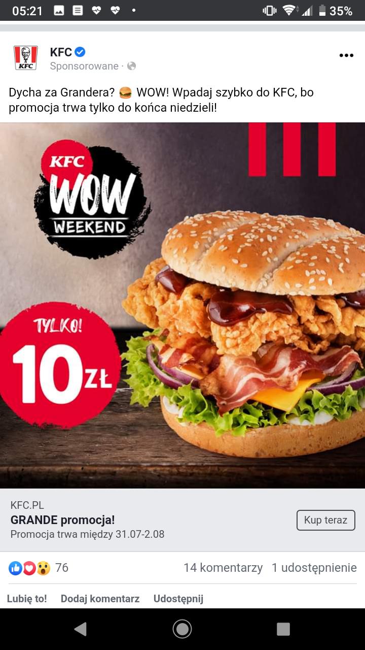 KFC - Grander 10zl - Oferta Weekendowa