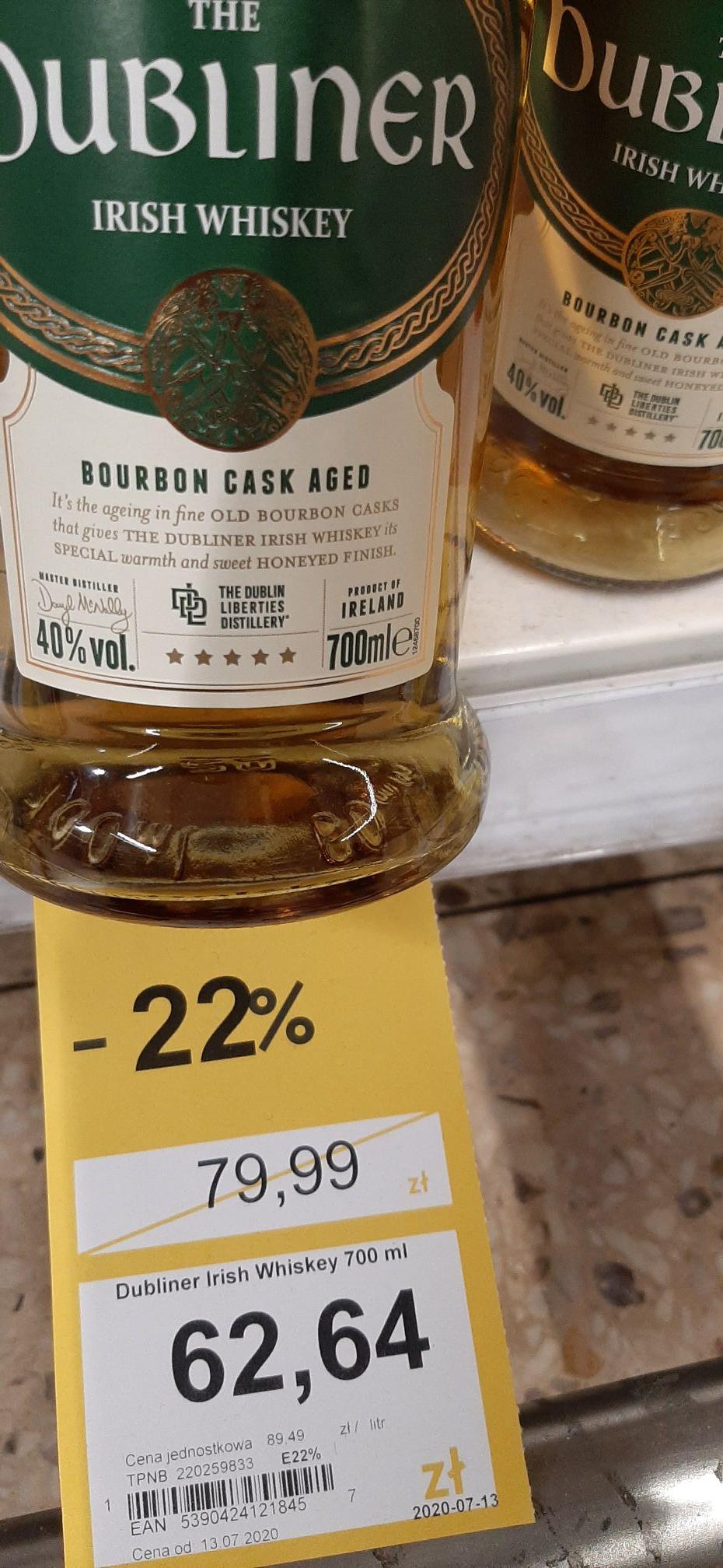 THE DUBLINER IRISH WHISKEY BOURBON CASK AGED 0,7L / Tesco (ogólnopolska)