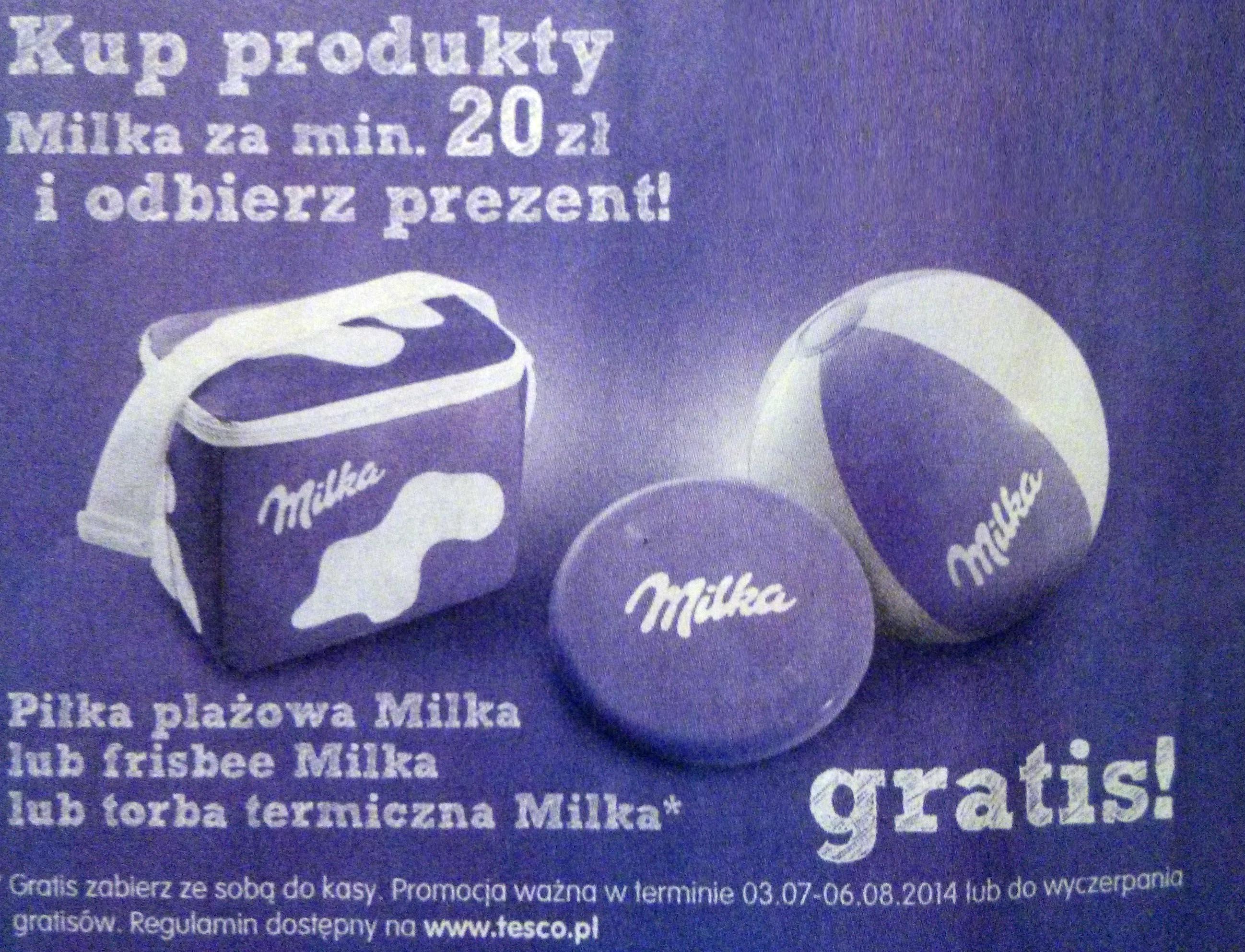 Kup produkty Milka za min. 20 zł i odbierz prezent @ Tesco