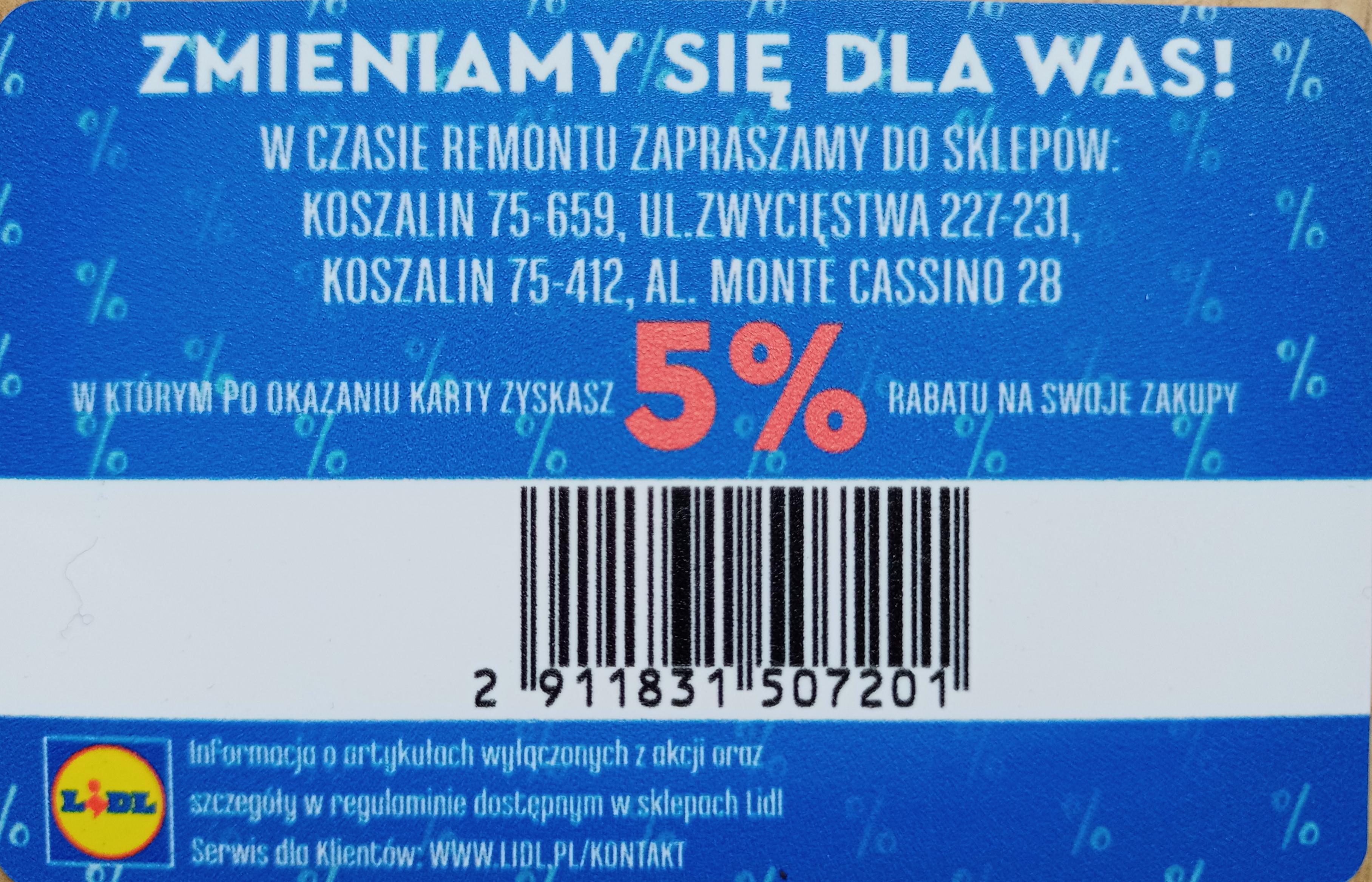 5% zniżki w Lidl Koszalin, dodatkowo wyprzedaż -25%