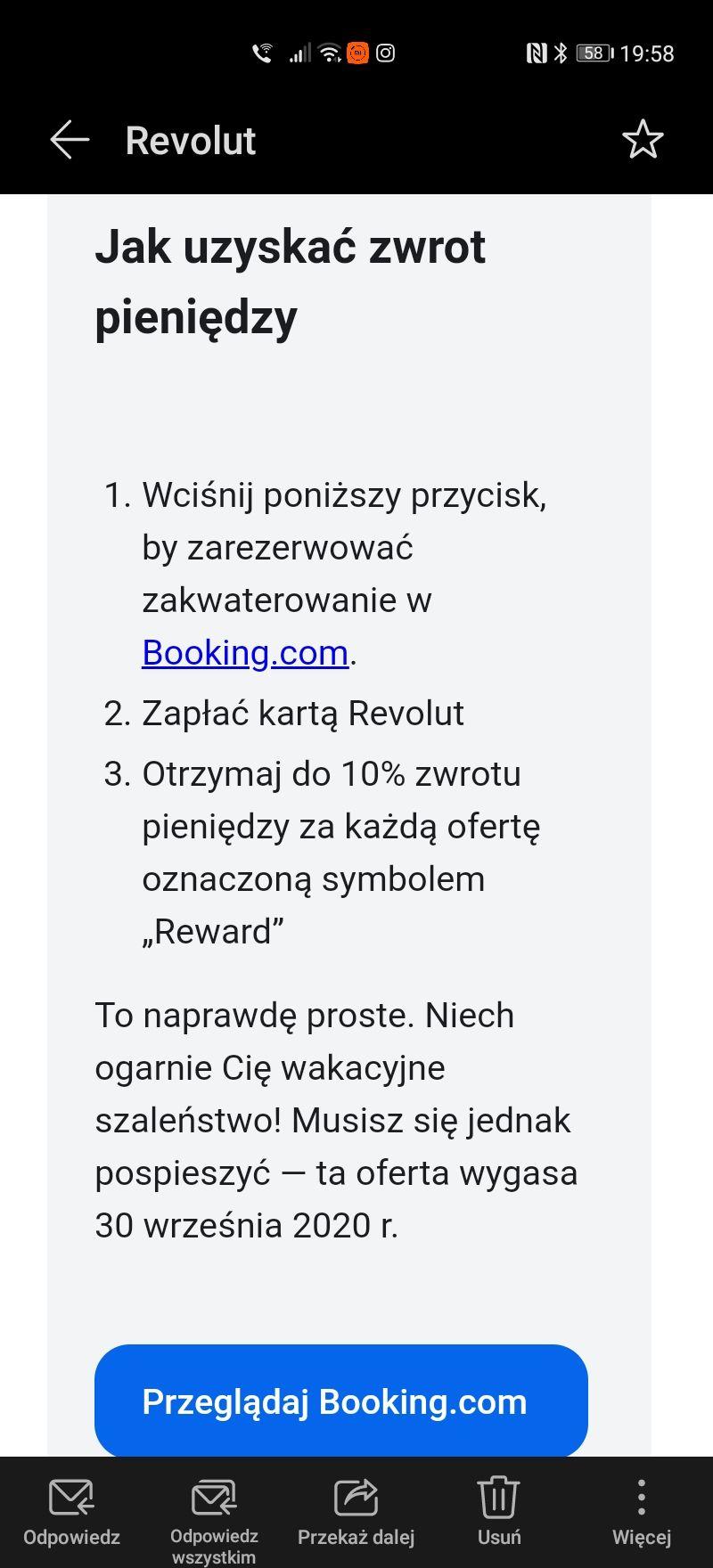 Booking.com zwrot do 10% od Revolut