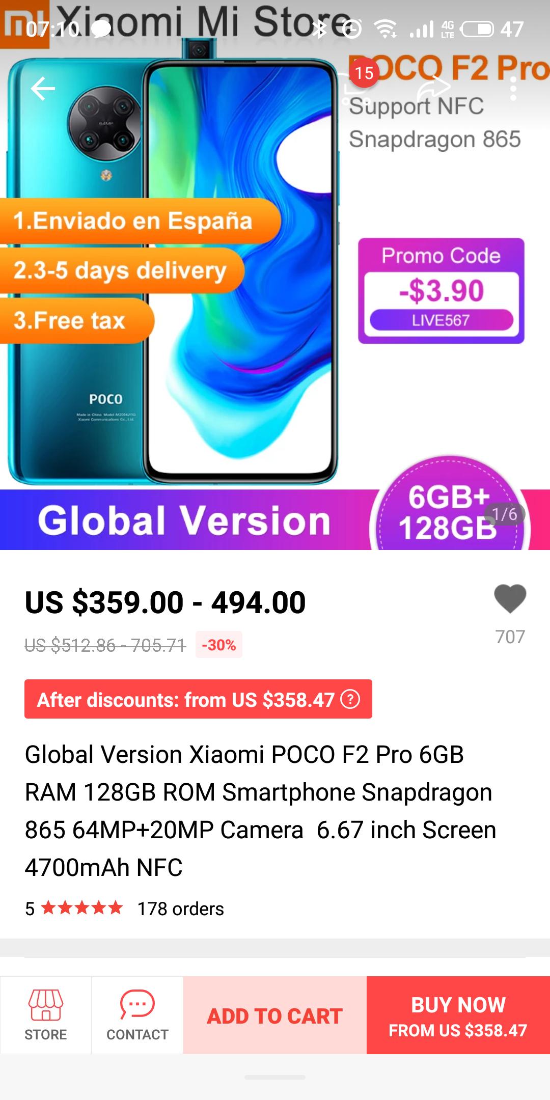 Smartfon Poco F2 Pro 6/128GB, bezvatowa wysyłka.
