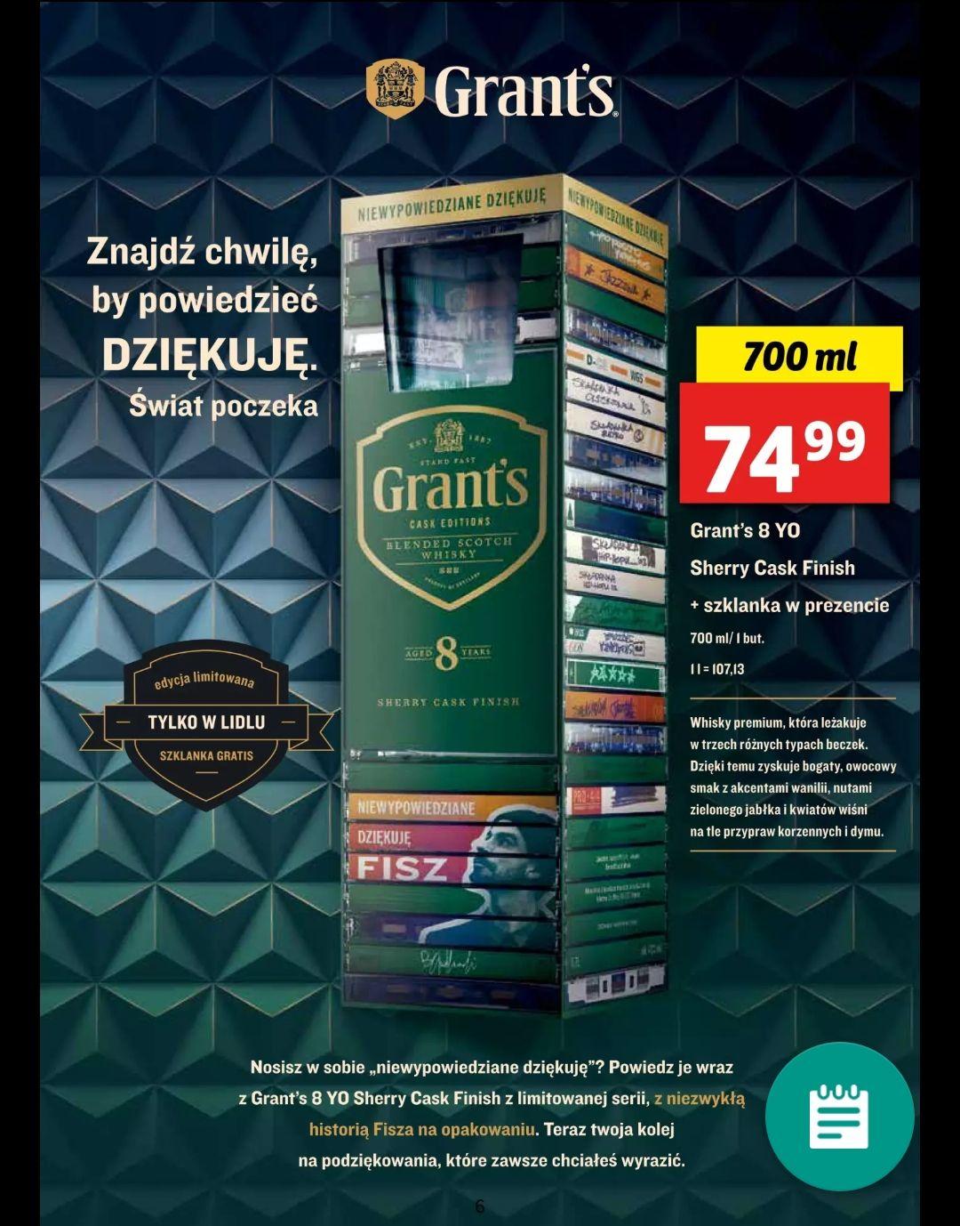 Whisky Grant's 8YO Sherry Cask Finish 700ml +szklanka w Lidl