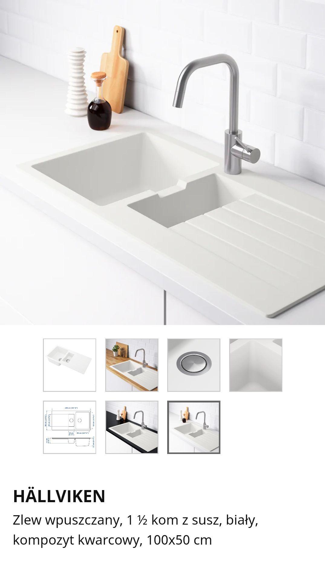 Zlew 1,5 komorowy biały Hallviken @Ikea Gdańsk - nowa cena