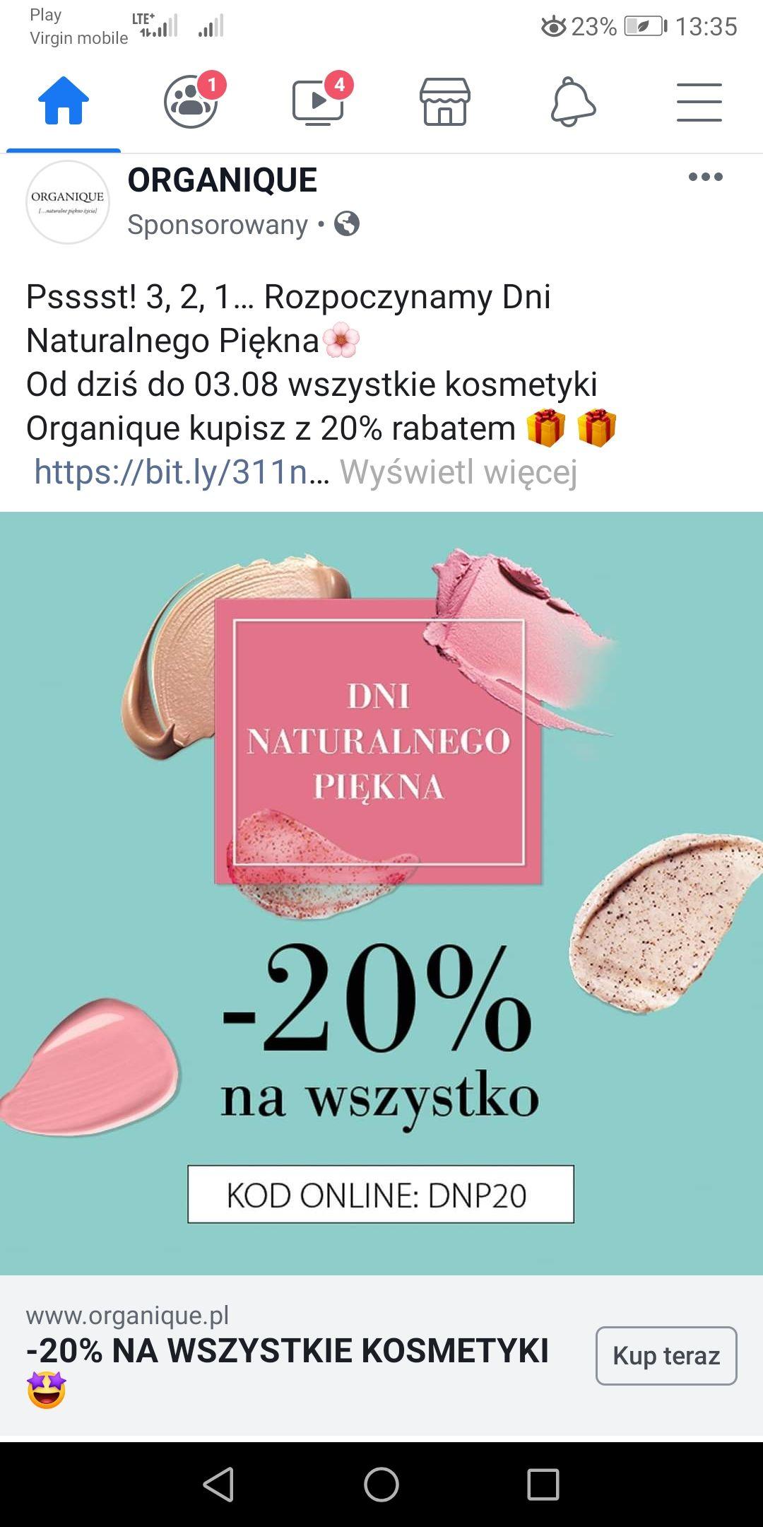 Organique - 20% na wszystkie kosmetyki