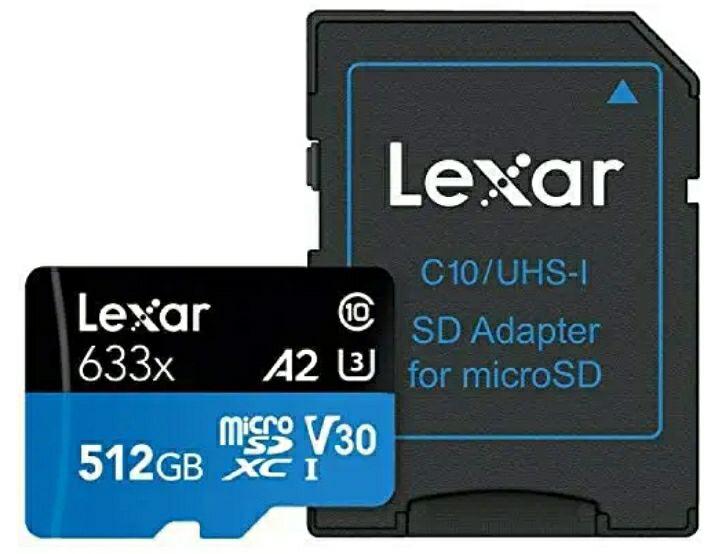 Karta pamięci Lexar High-Performance 633x 512GB microSDXC UHS-I A2 V30 - Amazon.de 61,45 Euro