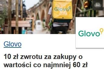 Glovo 10 zł zwrotu z Visa Oferty za zakupy o wartości co najmniej 60 zł