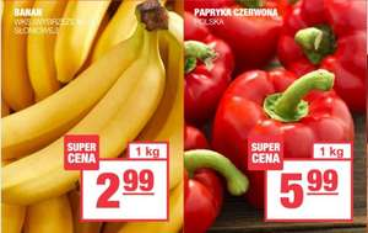 Banany 2,99 zł/kg | Papryka czerowan 5,99 zł/kg | Brokuł 2,99 zł/szt. @SPAR oraz Piotr i Paweł