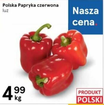 Papryka czerwona 4,99zł/kg | Nektarynki 4,99 zł/kg | Pomidory malinowe 3,99 zł/kg | Marchew młoda 1,99 zł/kg | Cukinia 2,49 zł/kg@Tesco