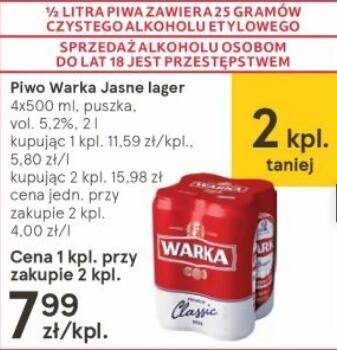 Piwo Warka Jasne Classic przy zakupie 2x4-paków @Tesco