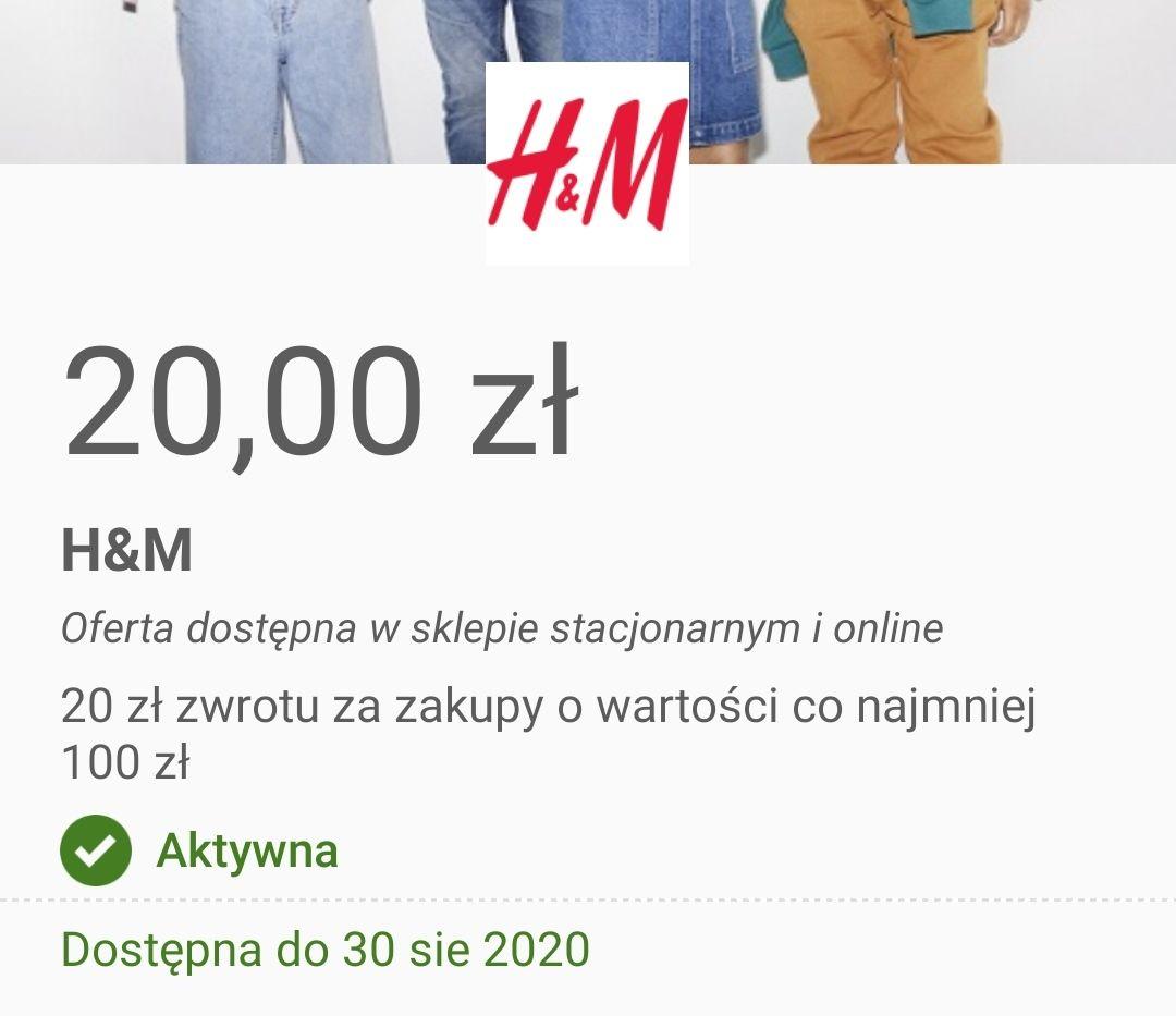 Visa oferty H&M 20zł zwrotu przy zakupach za min 100zł