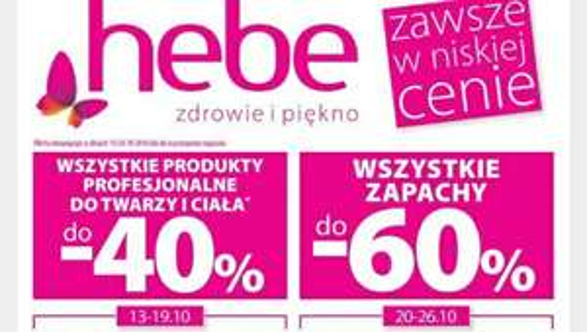 Wszystkie produkty profesjonalne do twarzy i ciała do -40%,wszystkie zapachy do -60% i wszystkie dermokosmetyki do -40% @Hebe