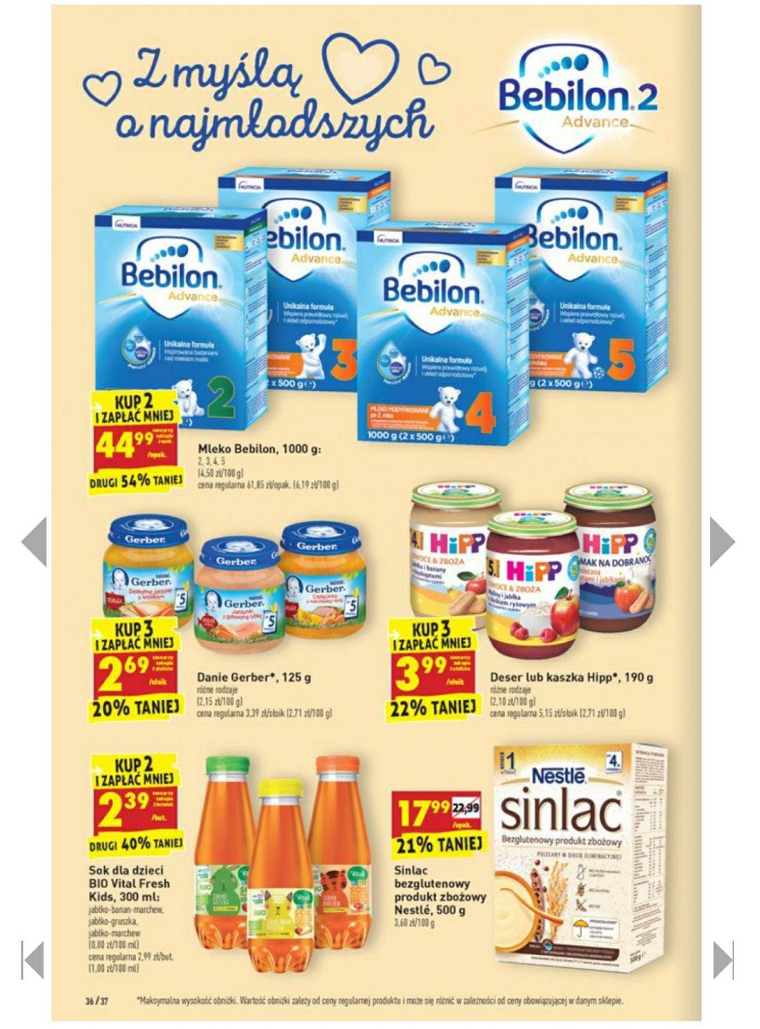 Mleko Bebilon 2,3,4,5 1000g przy zakupie 2 szt biedronka