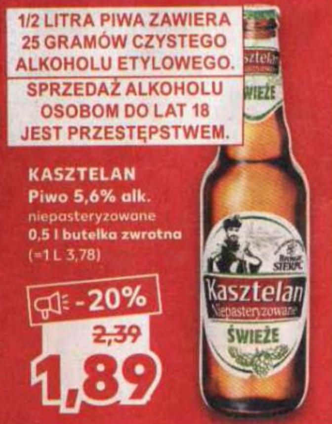 Piwo KASZTELAN Niepasteryzowane 0,5l. Kaufland