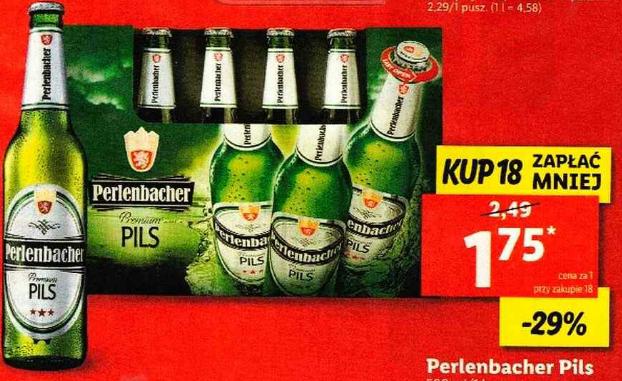 Piwo Perlenbacher Pils 500ml przy zakupie 18szt. Lidl