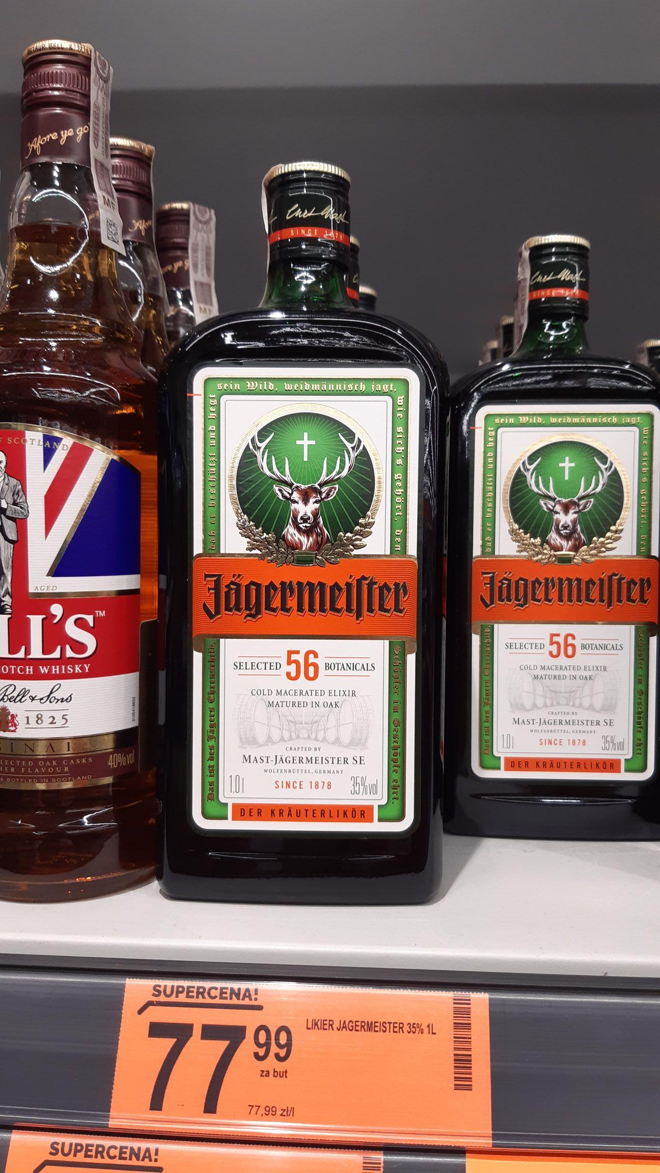 Jägermeister 1 LITR za 77,99 zł.