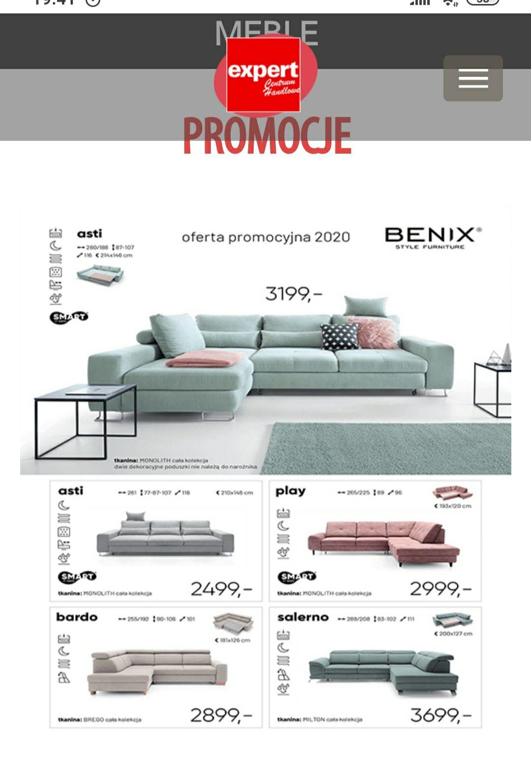Promocja na narożniki benix w wybranych tkaninach