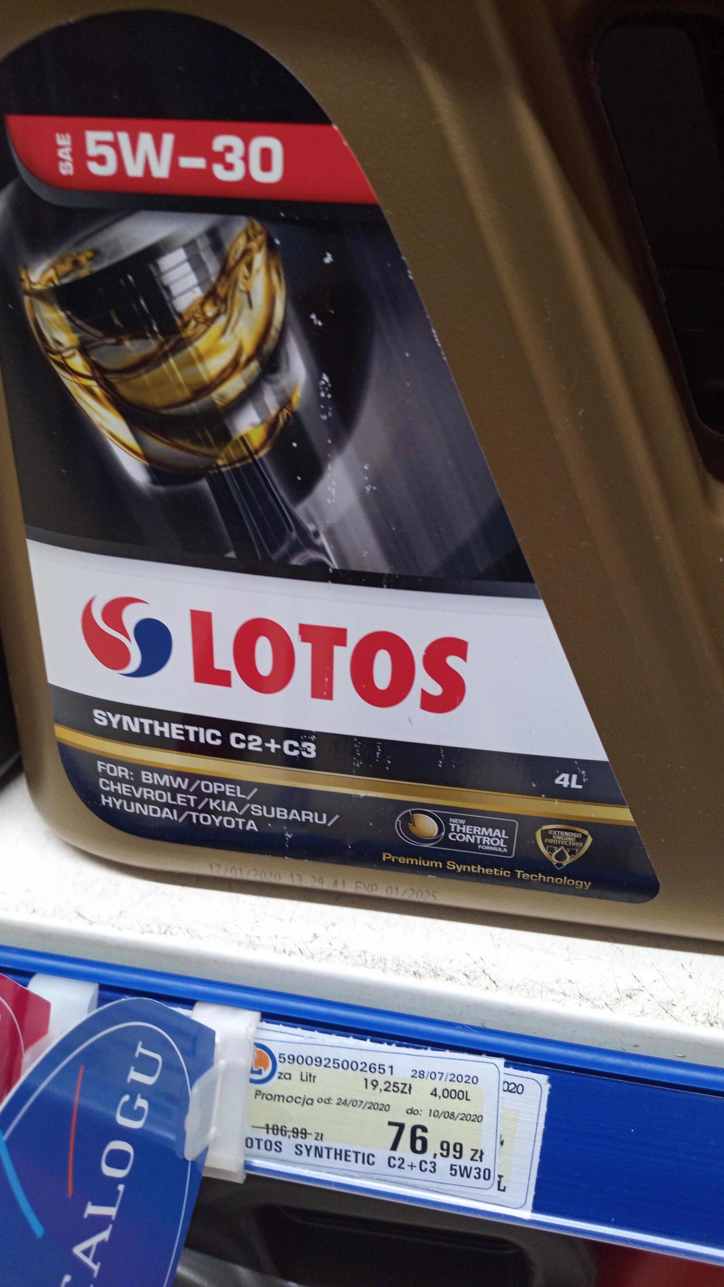 Olej syntetyk LOTOS 5W-30 normy C2 + C3 BMW, MB, VW i DEXOS2. Leclerc Wawa - KEN