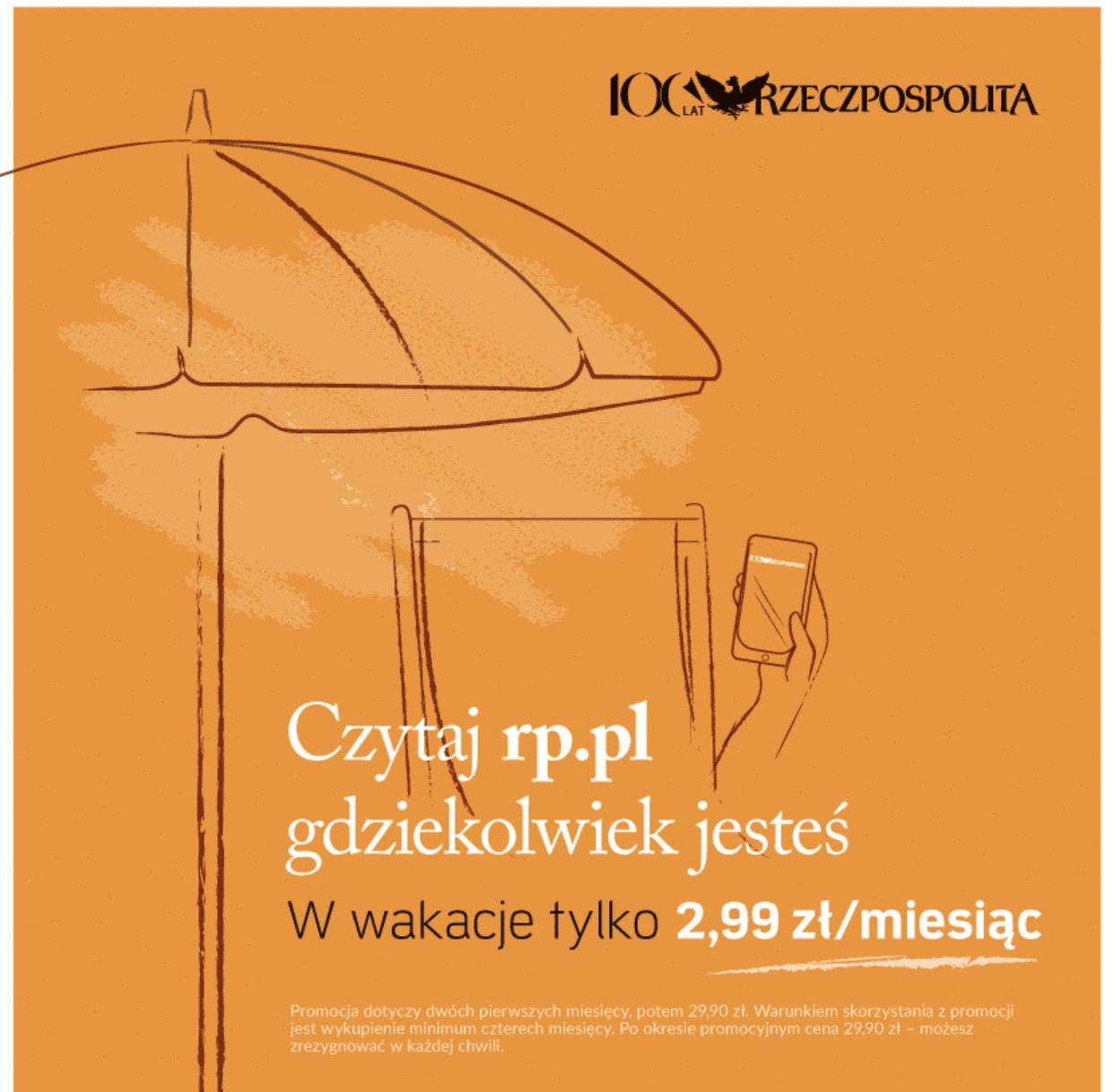 Portal Rzeczpospolita na Wakacje, 2,99zł za pierwsze 2 miesiące, kolejne dwa - 29,99zł