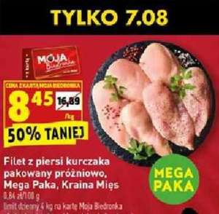 Filet z piersi kurczaka 8,45/kg Biedronka