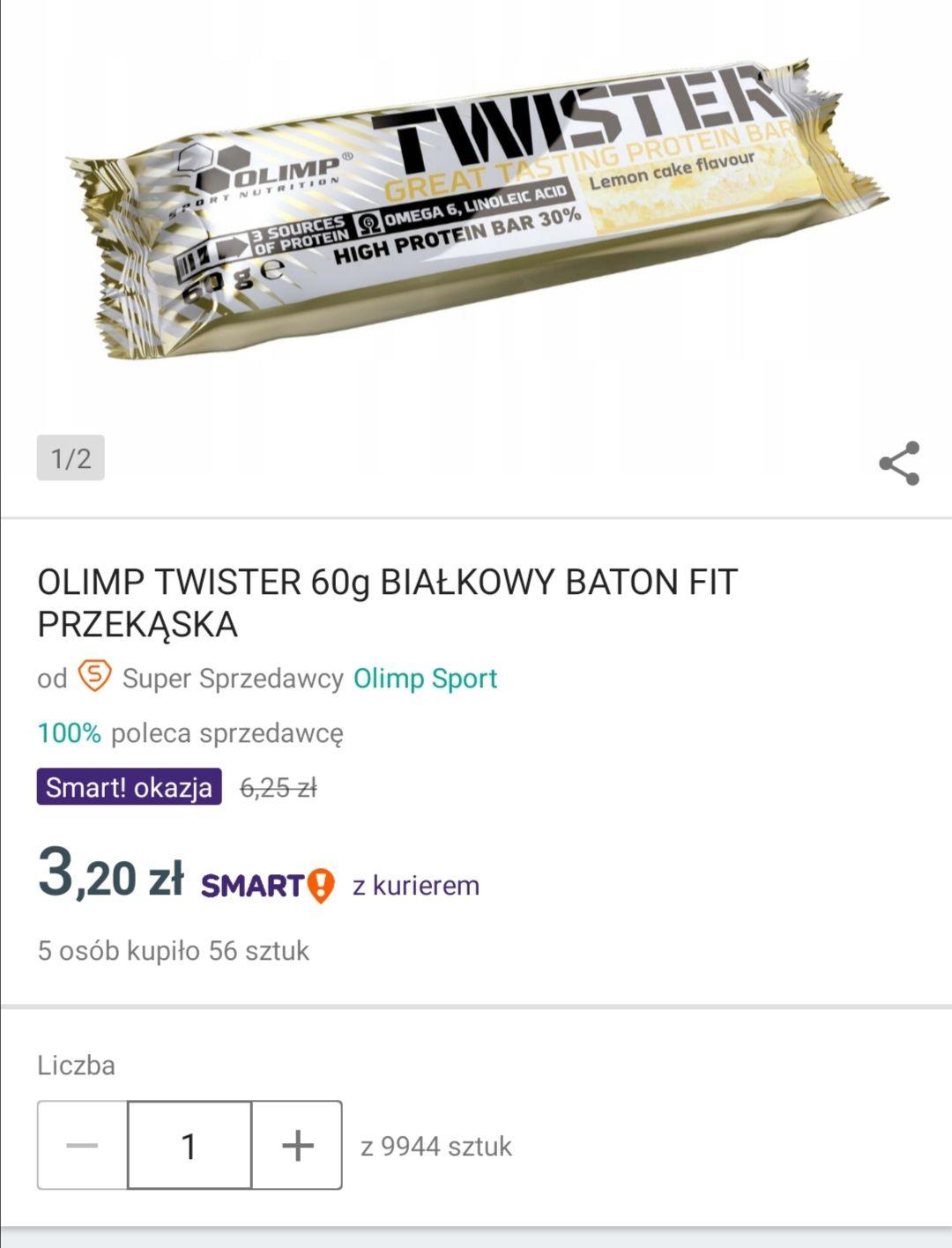 Smart Okazja Allegro - OLIMP TWISTER 60g BIAŁKOWY BATON FIT PRZEKĄSKA