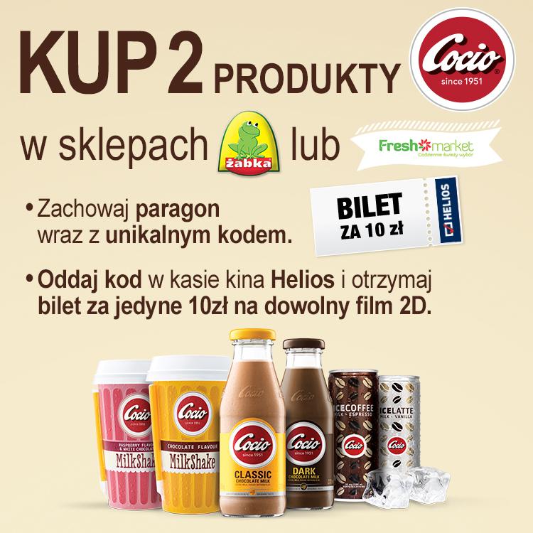 Bilet do kina za 10 zł, przy zakupie dwóch produktów(Cocio) @Helios
