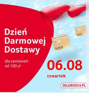 Dzień darmowej dostawy na @Selgros24 w dniu 6.sierpnia , MWZ 100 zł