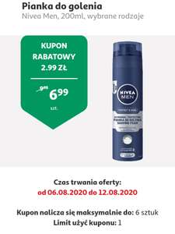 Pianka do golenia NIVEA 200ml, cena z kuponem w aplikacji Auchan