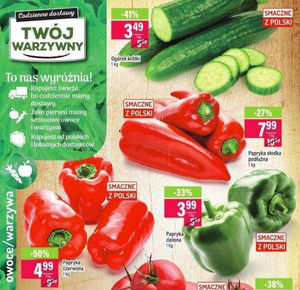 Papryka czerwona 4,99 zł/kg | Papryka zielona 3,99 zł/kg | Ogórki krótkie 3,49 zł/kg | Brzoskwinie 3,49 zł/kg | Arbuz żółty 2,19 zł/kg @Mila