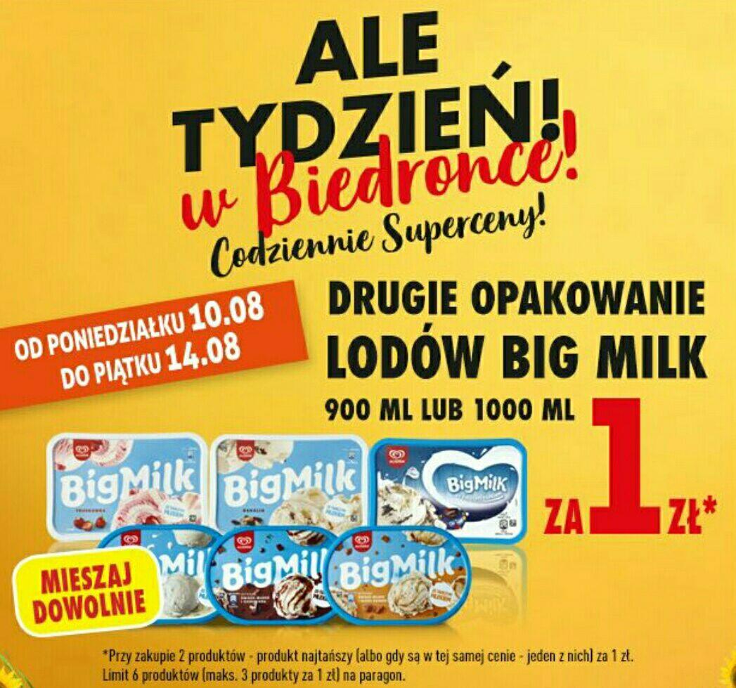 Biedronka, lody Algida Big Milk 900,1000ml drugie opakowanie za 1zł