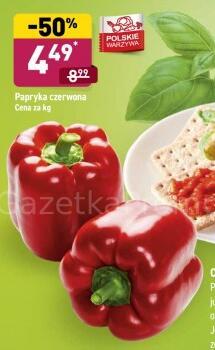 Papryka czerwona 4,49 zł/kg | Winogrona ciemne 5,99 zł/kg | Cebula żółta 1,29 zł/kg @Aldi