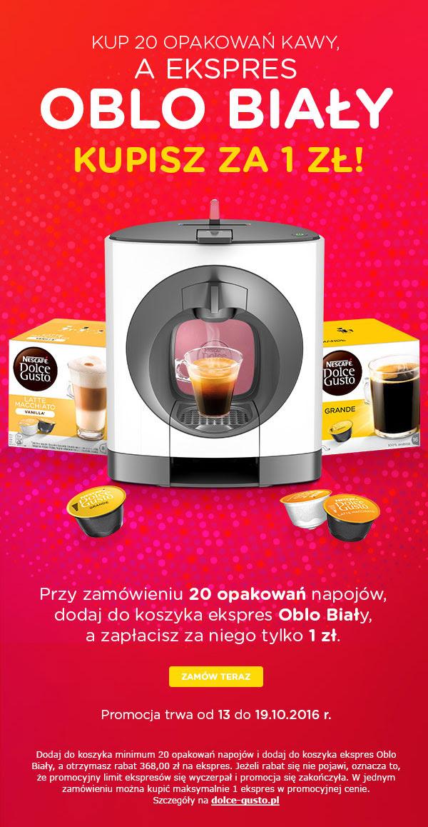 Kup 20 opakowań kapsułek z kawą - ekspres Krups Oblo otrzymasz za 1zł @ Dolce Gusto