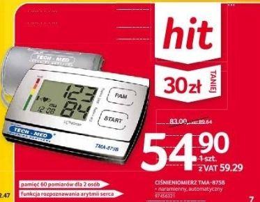 Ciśnieniomierz naramienny TMA-875B z funkcją rozpoznawania arytmii serca, 60 pomiarów dla 2 osób - Selgros