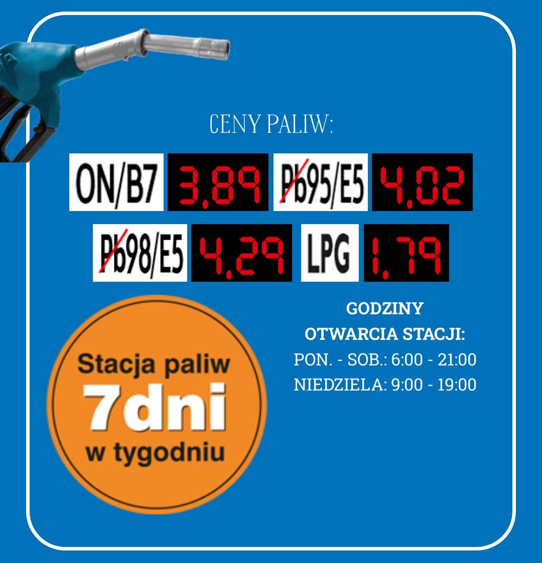 Pb95 4.02, ON 3.89, Pb98 4.29, LPG 1.79 E.Leclerc Mielec, Powstańców Warszawy 4